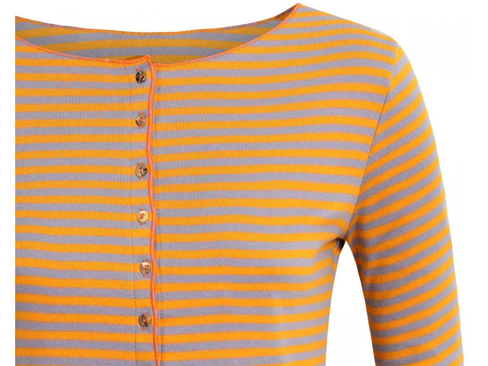 Cardigan 3/4 sl. organic cotton stripes,  yellow-purple