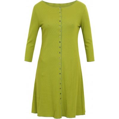 Button dress 3/4 s. organic cotton eyelet, limegreen