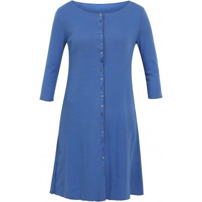 Button dress 3/4 s. organic cotton eyelet, blue