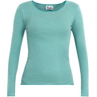 Shirt organic cotton stripes,  water-green