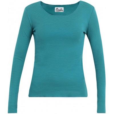 Shirt organic cotton stripes,  petrol-turq. XS