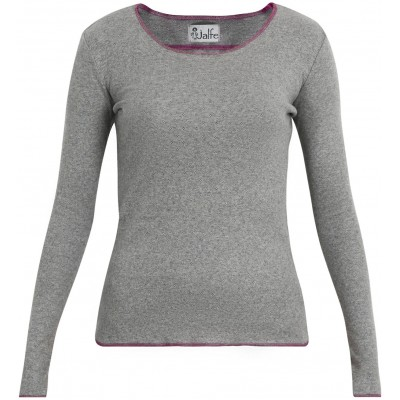 Shirt organic cotton melange eyelet, grey/pink