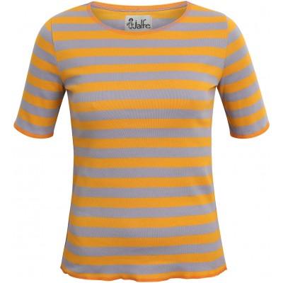 Shirt s/s organic cotton wide stripes,  yellow-purple