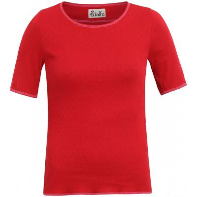 Shirt s/s organic cotton eyelet,  bright red
