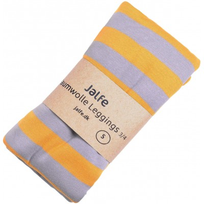 Leggings 3/4 l. organic cotton stripes,  yellow-purple