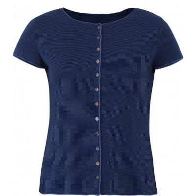Button shirt s/s organic cotton stripes, black-royal