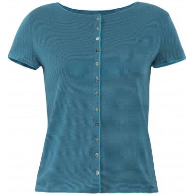 Button shirt s/s organic cotton stripes, bluegreen-turq.