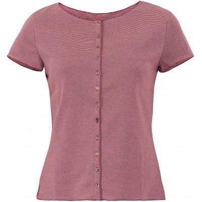 Button shirt s/s organic cotton stripes, rose-bordeaux