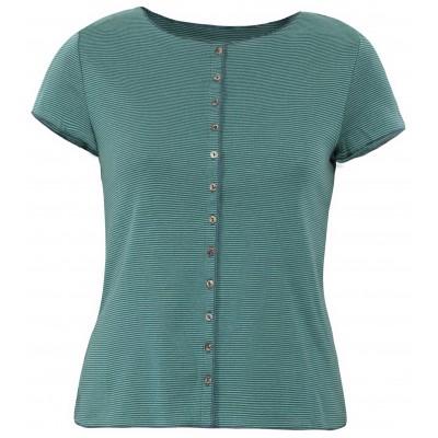 Button shirt s/s organic cotton stripes, green-bluegreen