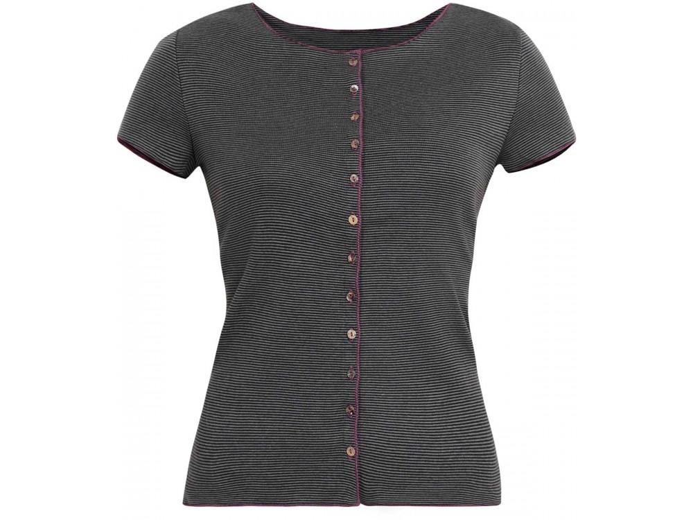 Button shirt s/s organic cotton stripes,  grey-anthracite
