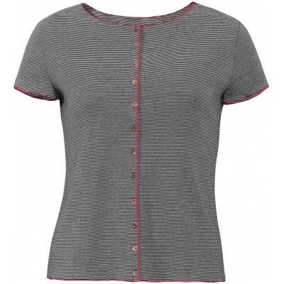 Button shirt s/s organic cotton stripes, black-white