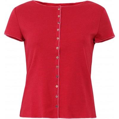 Button shirt s/s organic cotton stripes, cerise-red