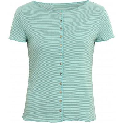 Button shirt s/s organic cotton stripes, water-green