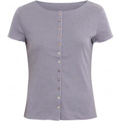 Button shirt s/s organic cotton stripes, lavender-blue