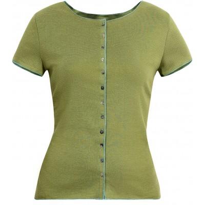 Button shirt s/s organic cotton stripes, lime-green
