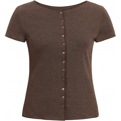 Button shirt s/s organic cotton stripes, anthracite-brown