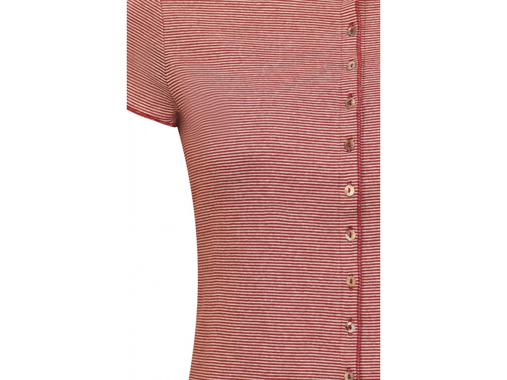 Button shirt s/s organic cotton stripes, rust-undyed