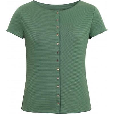 Button shirt s/s organic cotton stripes, green-petrol
