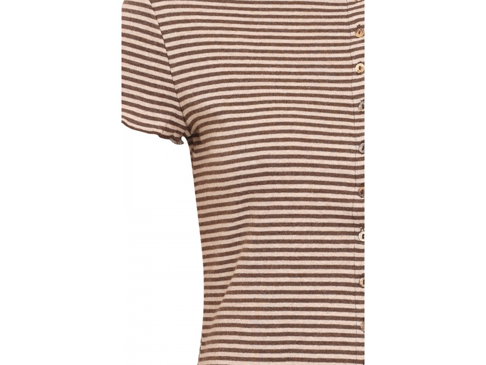 Button shirt s/s organic cotton stripes, brown-undyed