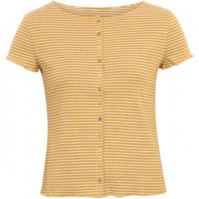 Button shirt s/s organic cotton stripes, curry-undyed