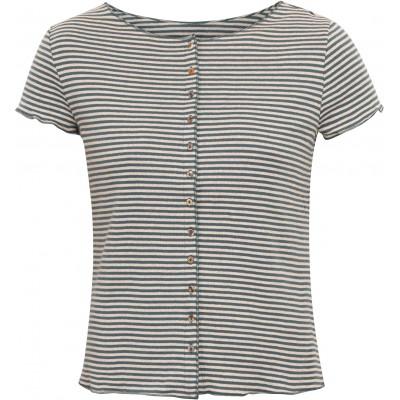 Button shirt s/s organic cotton stripes, petrol-undyed