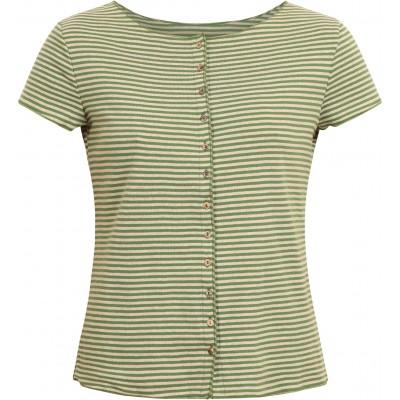 Button shirt s/s organic cotton stripes, green-undyed